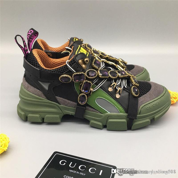 Дизайнерская обувь Женская FlashTrek кроссовок с съемными кристаллы модельера Luxury 2019 Марка Мужская обувь Кроссовки тренеры с Бо