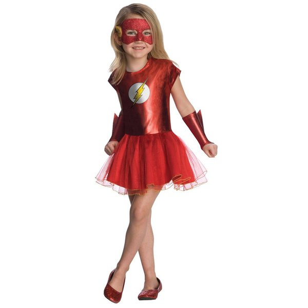 Girl Movie The Flash Costume Kid Fancy Dress Child Justice League DC Comic Halloween Carnival Fantasia Outfit