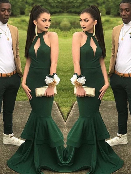 Beautiful Green Prom Dress 2014 Halter Keyhole Neck Long Elegant Formal Stretchy Evening Party Gowns Amazing Slim Mermaid Prom Dresses 2019