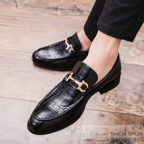 2019 Erkekler Örgün İş Brogue Ayakkabı Lüks erkek Timsah Elbise Ayakkabı Erkek Rahat Hakiki Deri Düğün Parti Loafer'lar