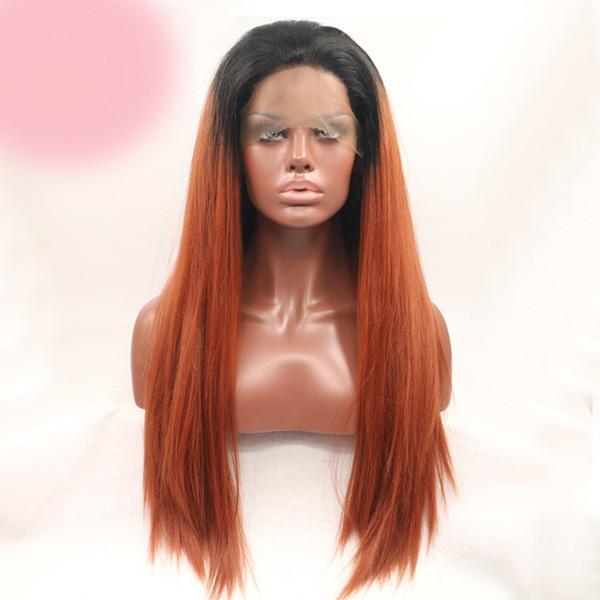 Cabelo brasileiro partido cosplay não transformados remy virgem cabelo humano orange sexy colorido natural em linha reta peruca cheia do laço para as mulheres