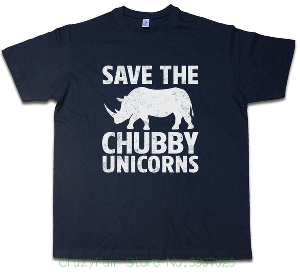 Save The Chubby Unicorns T-shirt Rhino Rainbow Colors Fairy Fairies Fun Men Adult Slim Fit T Shirt S-xxl