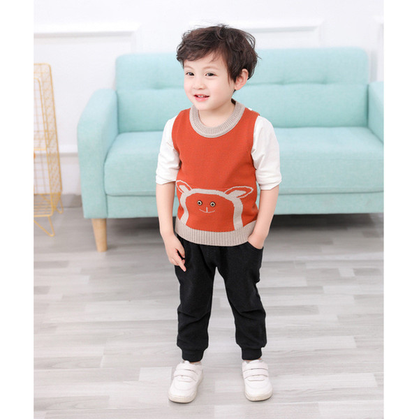 0-4 years High quality boy girl clothing set 2019 new spring casual kid suit children baby clothing vest+pant+T-shirt 3pcs