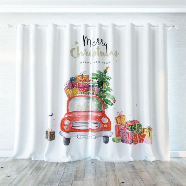 3D Digital printing personality Custom curtain Painting christmas car gift drapes Extra wide Blackout curtain party decoration background