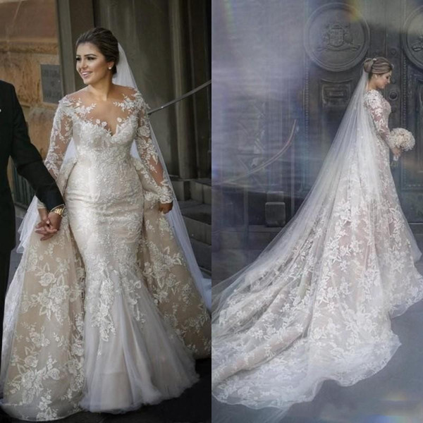2020 Vintage Mermaid Wedding Dresses With Detachable Train Arabic Sheer  Neck Lace Appliques Plus Size Long Sleeve Bridal Gowns Ball Gowns Lace  Wedding ...
