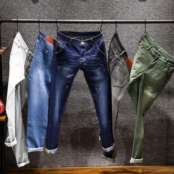 6 cores de 2019 homens novos magros brancas Jeans Moda Elastic magros calças Jean Masculino Marca Calças Preto Azul Verde Cinzento