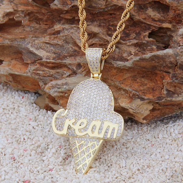 Hip hop Pendant Necklace Ice cream Pendant 14K gold-plated micro-zircon necklace for men and women IceCream personality pattern