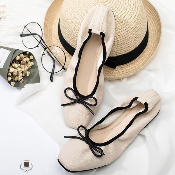 2019 Bahar Yeni Bale Daireler Kadınlar Kelebek-düğüm Loafer'lar Sığ Kare Toe Bayanlar Casual Düz Ayakkabı Üzerinde Kayma XWD7150