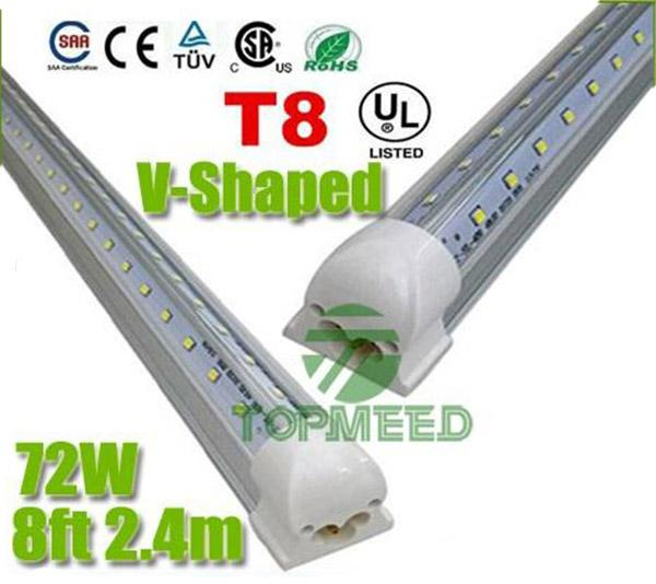 V-Shaped T8 Led Tube Lights 72W 8FT 2.4m Integrated Cooler Door Led Fluorescent tubes light Lamp 270Angle Double Glow lighting 110-277V 50