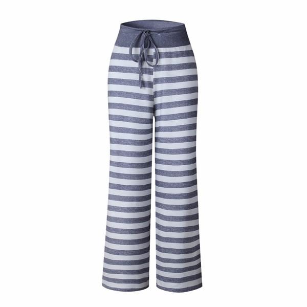 Estampado floral pantalones de pierna ancha relajado verano de las mujeres 2019 Streetwear pantalones de cintura alta sueltos elásticos ocasionales cordón largo pantalones largos