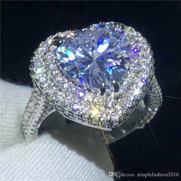 Роскошные в форме сердца кольцо Promise кольцо стерлингового серебра 925 пробы 5A Cz камень обручальное кольцо обручальное кольцо для женщин ювелирные изделия из пальца