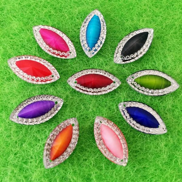 10*18mm Flatback Horse Eye sewing 2 Hole costume Button stones crystals Resin Rhinestone trim 360pcs -B60
