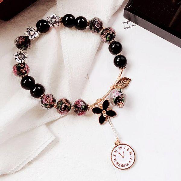 Designer de jóias frisado pulseiras esmalte flores e relógio pingente pulseiras para as mulheres meninas linda graciosa moda quente