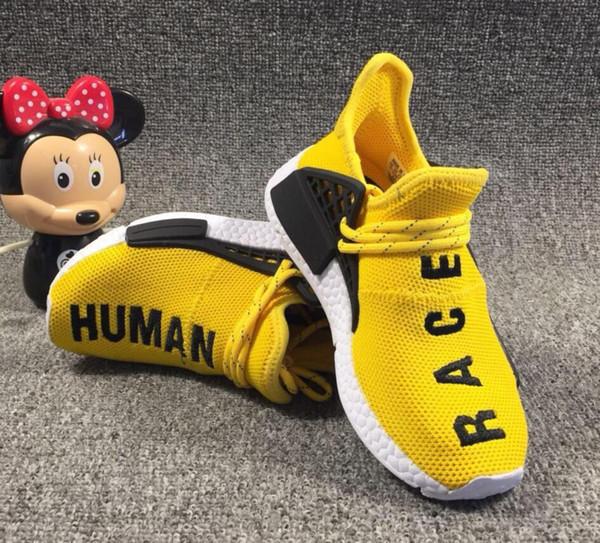 Adidas human race  crianças corrida humana tênis de corrida pharrell williams hu trail Oreo Nobel meninos de tinta preta nerd designer de tênis crianças sapatas do esporte