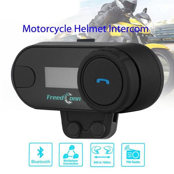 TCOM-SC Kablosuz Bluetooth Motosiklet Interkom Kulaklık 800 Metre Aralığı Kask Interkom FM Radyo ile LCD Ekran