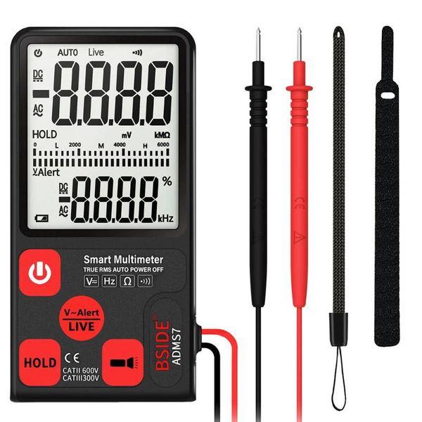 ADMS7 Multimètre numérique portable Tensionètre AC / DC automatique Testeur Ohm Affichage LCD 6000 comptes avec barre analogique Flash grand écran
