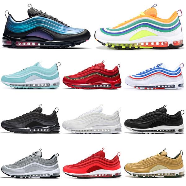 Acheter Nike Air Max 97 97s Chaussures De Course En Gros Throwback Future Pour Hommes Femmes Triple Noir Blanc LONDON SUMMER Vert Pas Cher Mens