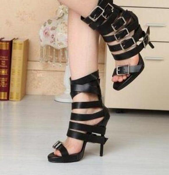 Yeni Tasarım Yaz Kadın Katı Renk Peep Toe Sandalet Toka Yüksek Topuklu Ince Punk Stil Stiletto