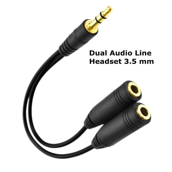 Dual New Audio Line Headset 3.5 mm Earphone Splitter One In Two Couples Lovers Adapter For iPhone Android Portable Media Player