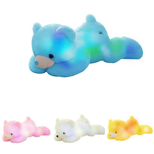 Творческий свет вверх LED плюшевый мишка плюшевые игрушки красочные светящиеся с музыкой плюшевый мишка подарок на День Рождения для детей