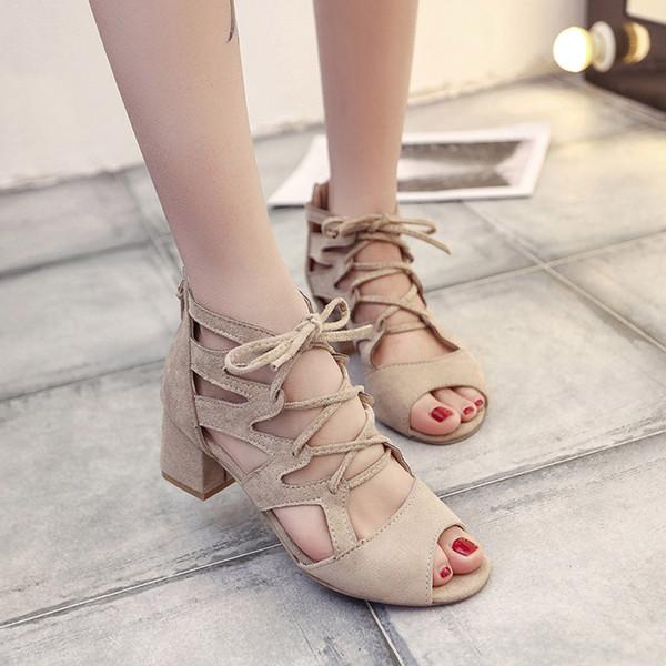 Модные туфли с открытым носком для женщин Женская обувь и сандалии Лодыжки с перекрещенными пятками Квадратные каблуки Block Party Toe Обувь Schoenen # G30