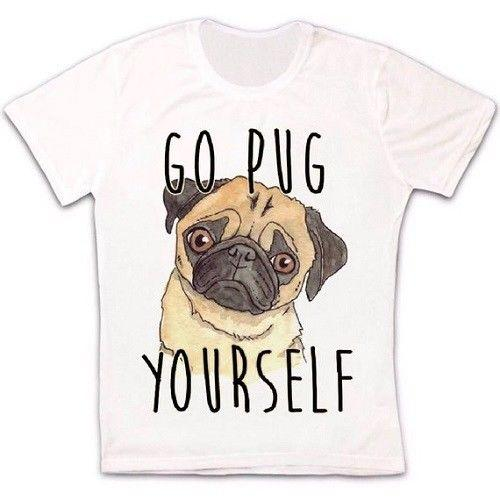 Go Pug Yourself Cute Dog Funny Gift Retro Vintage Hipster Unisex T Shirt 1911 Short Sleeve Plus Size t-shirt colour jersey Print t shirt