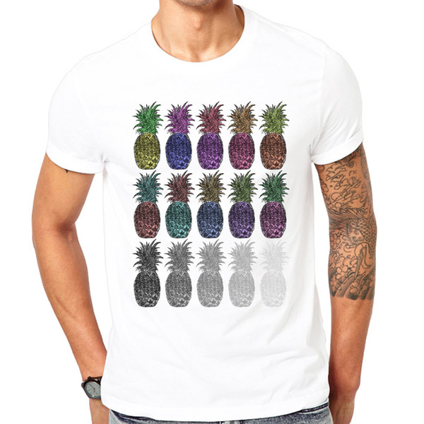 Novelty Fashion Summer Pineapples printed T-Shirt Men o-neck comfortable Casual White t-shirt Brand Fashion
