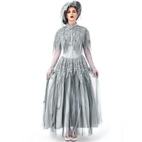 Fantasma de Halloween Horror novia cadáver cráneo de vestuario Imprimir vestidos de miedo engañar zombi vestido de encaje con el sombrero para las mujeres adultas