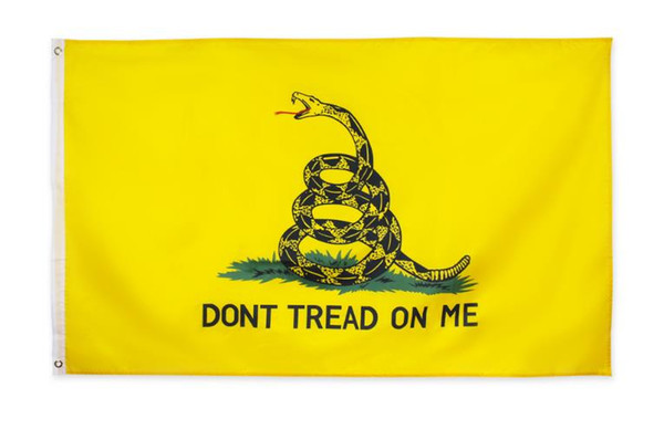 best selling Don't Tread On Me Gadsden Flag Banner Hanging Indoor Outdoor Decoration Fade Resistant Canvas Tea Party Flags Polyester Brass Grommet 3X5 Ft