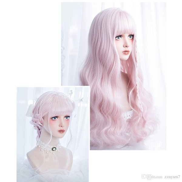 60CM Long Curly Pink Ombre Heat Resistant Bangs Cute Party Synthetic Cosplay Wig