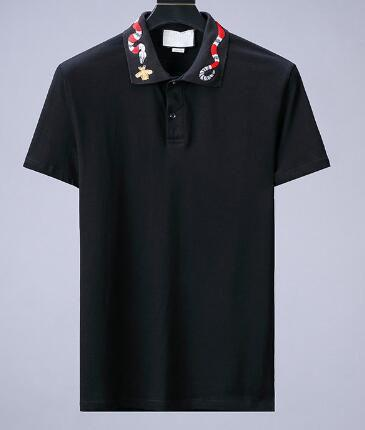 Life Solid Polo-Shirts für Männer Italien Fashion Bee Snake Print Baumwolle Sommer Classic Polos Sport Tees Schwarz M-XXXL
