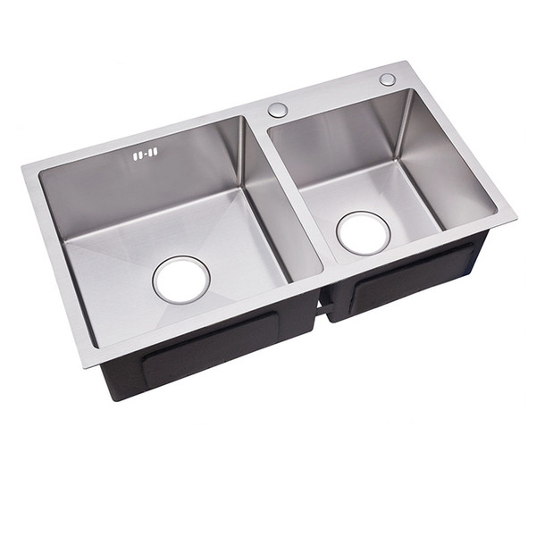 Купить со скидкой kitchen sinks stainless steel double bowl brushed silver sink with sink basket above counter wash si