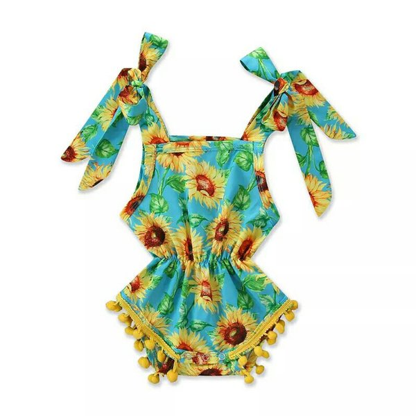 Baby Girls Printed Romper Infant Baby Clothing Summer Sunflower Sling Onesies Bow Lace Ball Romper Baby Girls Suspender Romper Jumpsuit