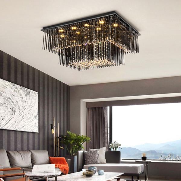 Modern Creative Rectangle Crystal Chandelier Lights Ceiling Light Black  Square Chandeliers Lighting Led Ceiling Lamp For Living Room Bedroom ...
