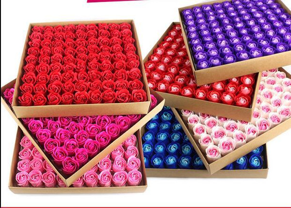 Scented Bath Soap Rose Soap Flower Petal For Wedding Favors and Gift Valentine's Day Decorative Flowers & Wreaths 81 Pcs / Set C18112601