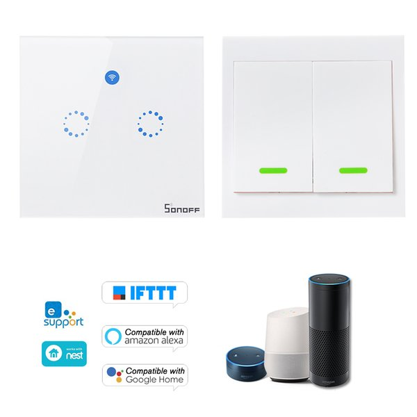 SONOFF T1 EU ITEAD 2 Gang Smart WiFi Wall Light Switch 433MHz RF/APP/Touch Control Timer For Google/Amazon Wireless RF Remote