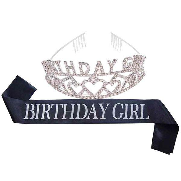 Geburtstag Braut Krone BIRTHDAYGIRL zeremonielle Tiara und Schärpe Set Party Legierung Strass Braut Stirnband