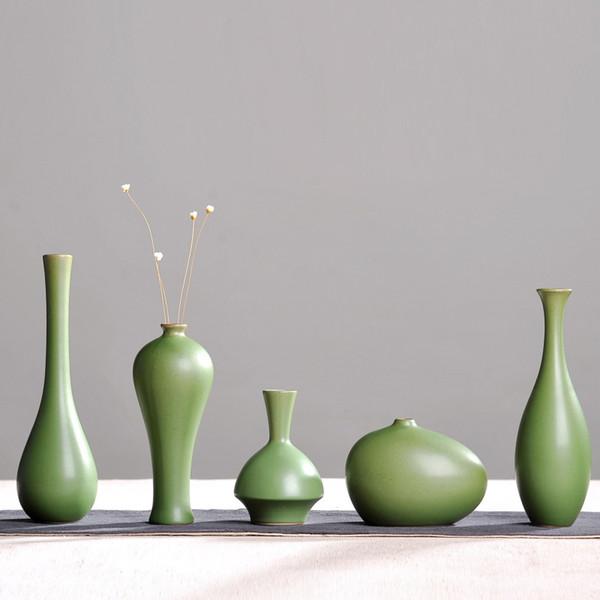 Vintage Home Decor Céramique Fleur Vases Pour Maisons Classique Vase En Céramique Antique Chinois Traditionnel Vert Bouteilles Artisanat