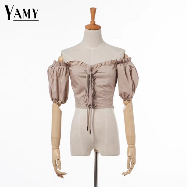 Crop Top Women Ruffle Blouse Womens Tops And Blouses Shirts White Black Short Sleeve Summer Top Korean Fashion Clothing Y19042902