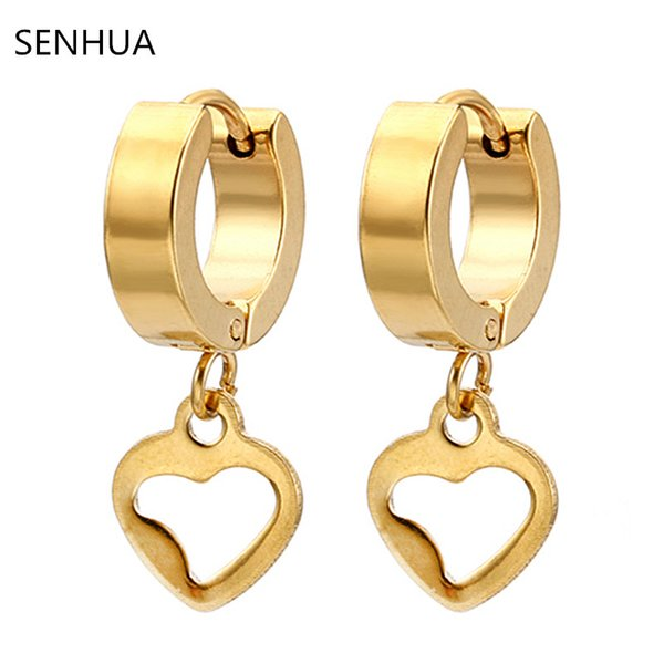 Wholesale 12 pairs Fashion Men Women's Jewelry Gold Stainless steel Love Hearts Hoop earrings Gold tone Earrings for Female male Gifts ME260