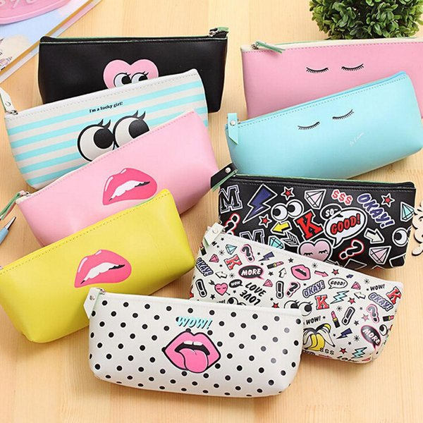 Wholesale- Candy color Kawaii Lip Dot pen bag stationery pouch Cute Modern girl PU leather school pencil case for girl Zipper Cosmetic Bags