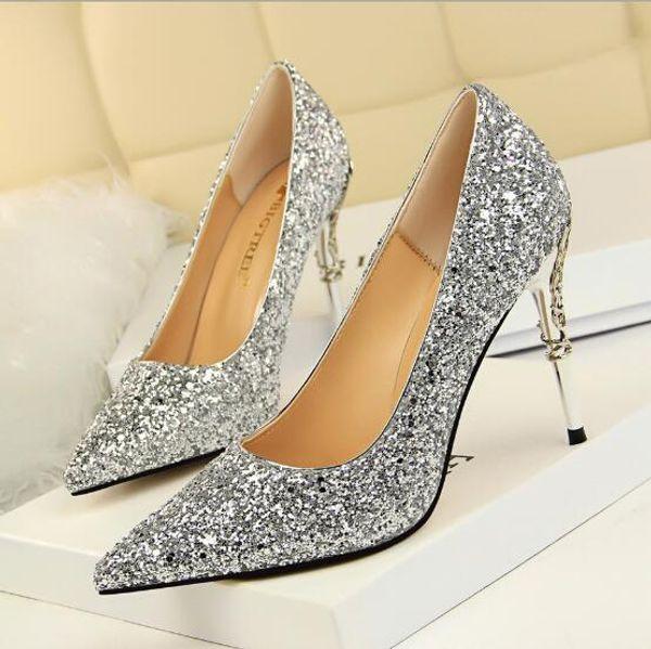 Designer Brand Fashion Womens Glitter Stiletto Wedding Dress Shoes 9.5cm Sexy Ladies Pointy Toe High Heels Festival Banquet Party Sandals