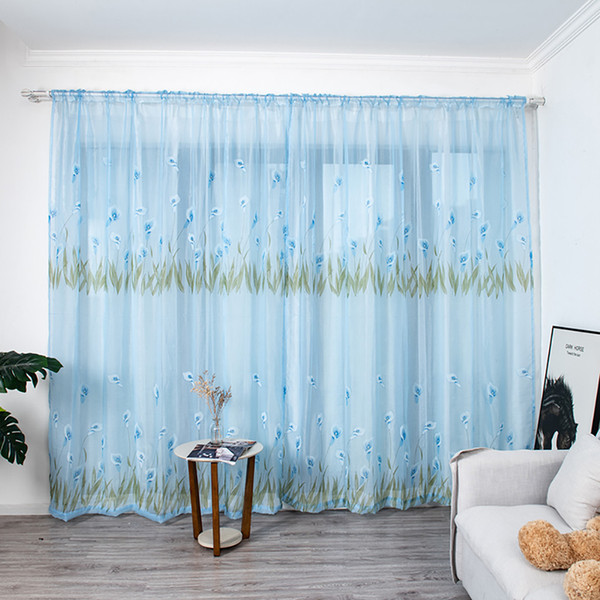 best selling Multicolor Trumpet curtain Leaves Curtains Tulle Window Voile Drape Valance 1 Panel Fabric For Living Room Blackout Decoration#45