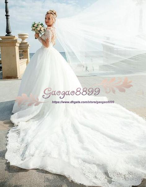 dba98eed2c 2019 Vintage Country tulle long sleeves wedding dresses lace up Bohemian long  Wedding Gowns chapel train plus size gorgeous vestido de novia
