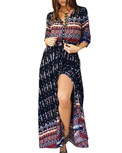 AELSON Mulheres Verão Boho Praia Vestidos Botão até Floral Dividir Longo Maxi Vestido Plus Size
