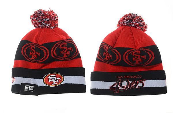 Men's San Francisco 49ers New Black Scarlet 2018 Sideline Cold Weather Official Sport Knit Hat 03