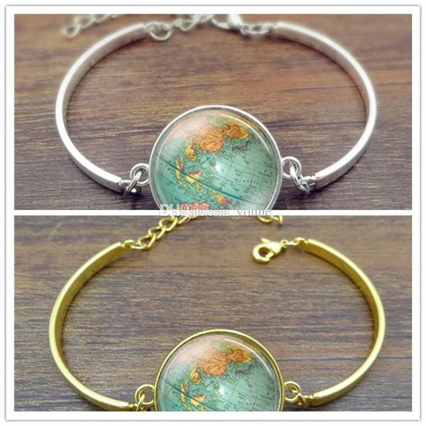 10pcs Creative Globe Map Bracelets & Bangles Planet Earth World Map Art Glass Dome Silver Jewelry Charm Bracelet For Women