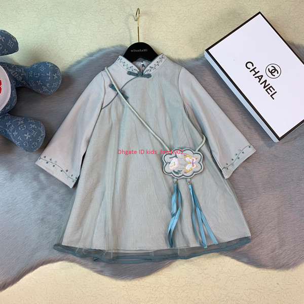Girls dress kids designer clothing Chinese style elegant autumn A-line dress cotton material cheongsam style dresses
