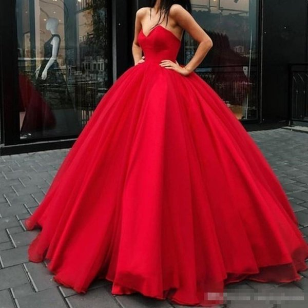 2019 Glamorous Red Princess Ball Gown Prom Dresses V-Neck Lace-Up Backless Red Carpet Dress Stylish Puffy Tulle Floor Length Evening Gowns