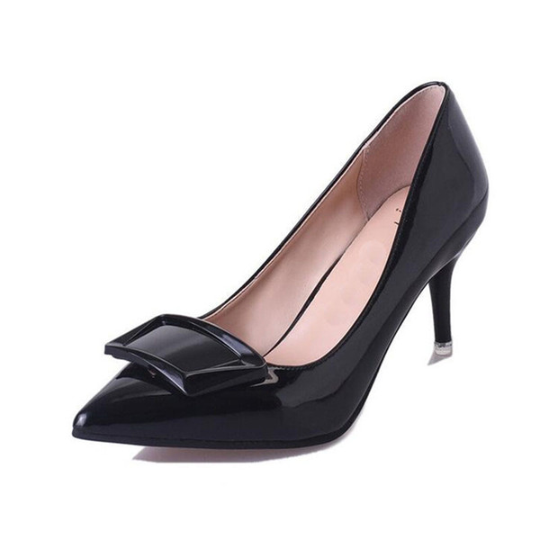 Shoes Free shipping Pumps 2019 designer with elegant commuter pointed high heel summer hot style bowknot single women's patent